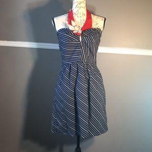 Judith March navy blue pinstripe halter dress